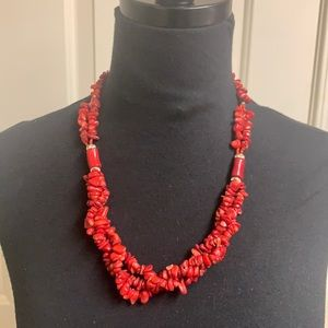 Handmade Coral red necklace